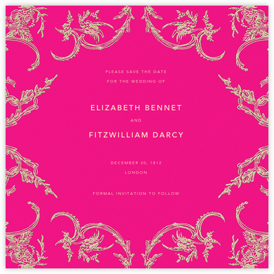 Silk Brocade II (Save The Date) - Bright Pink - Oscar de la Renta - Before the invitation cards