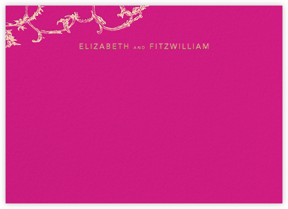 Silk Brocade II (Thank You) - Bright Pink - Oscar de la Renta - Personalized Stationery