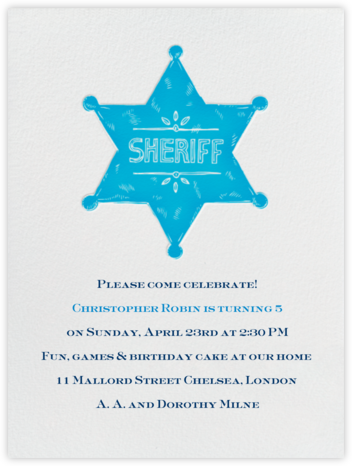 Sheriff Badge - Robins Egg - Paperless Post - Invitations