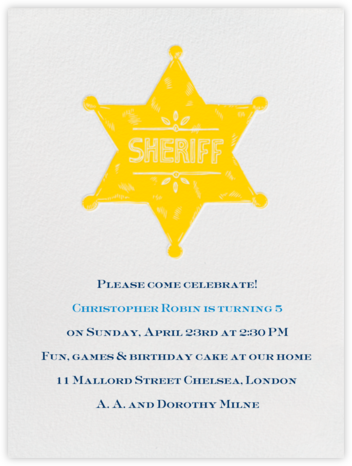 Sheriff Badge - Ivory Mustard - Paperless Post - Online Kids' Birthday Invitations