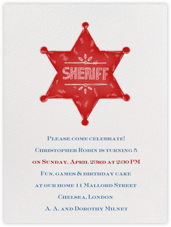 Sheriff Badge - Crimson - Paperless Post - Online Kids' Birthday Invitations
