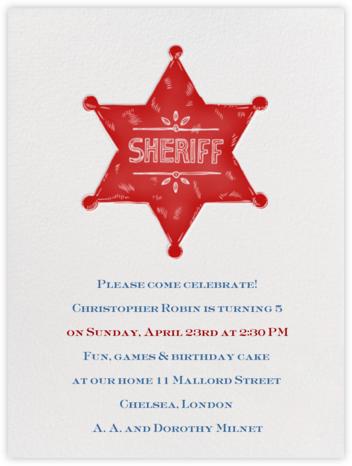 Sheriff Badge - Crimson - Paperless Post - Kids' birthday invitations