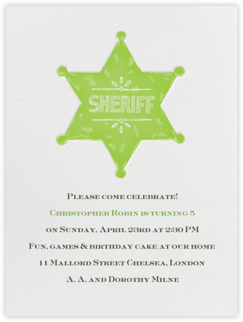 Sheriff Badge - Charterhouse - Paperless Post - Kids' birthday invitations