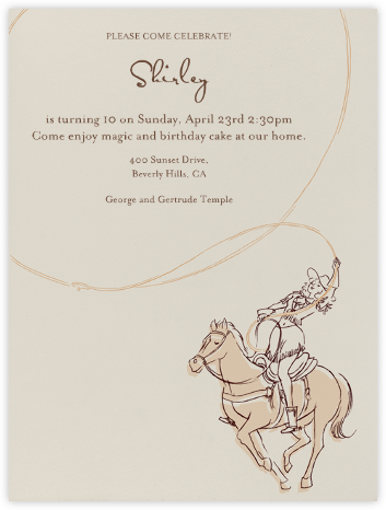 Cowgirl - Paperless Post - Kids' Birthday Invitations