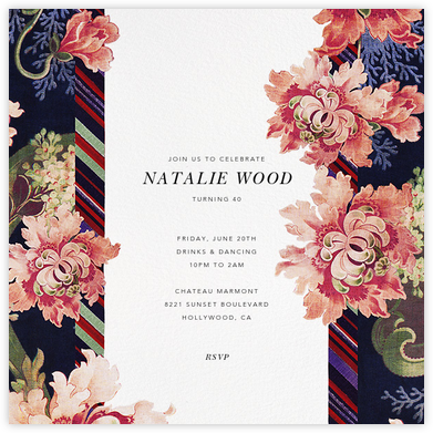 Rose Floral Ikat II - Oscar de la Renta - Adult birthday invitations