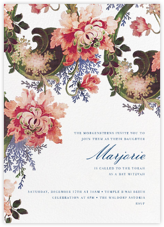Rose Floral Ikat (Tall) - Ivory - Oscar de la Renta - Bat and Bar Mitzvah Invitations