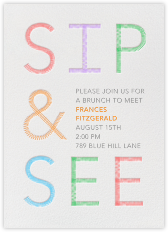 Sip & See Stitch - Paperless Post - Online Baby Shower Invitations