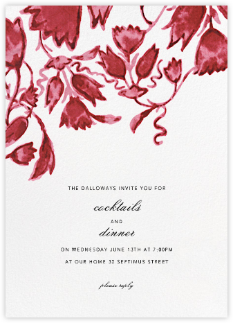 Watercolor Floral - Red - Oscar de la Renta - Dinner party invitations