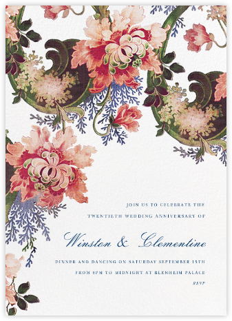 Rose Floral Ikat (Tall) - Ivory - Oscar de la Renta - Celebration invitations
