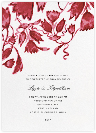 Watercolor Floral - Red - Oscar de la Renta - Engagement party invitations