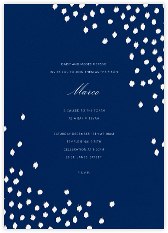 Ikat Dot - Dark Blue - Oscar de la Renta - Bat and Bar Mitzvah Invitations