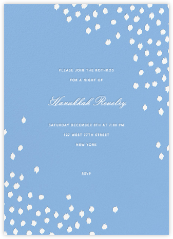 Ikat Dot - Light Blue - Oscar de la Renta - Hanukkah Invitations