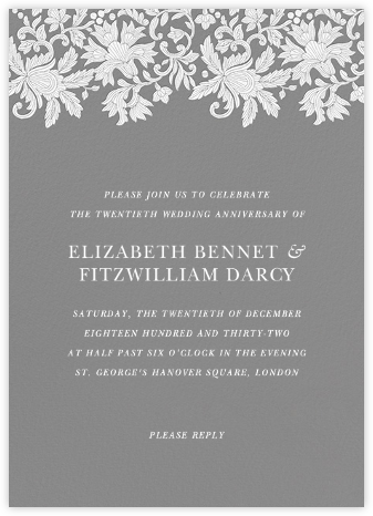 Leaf Lace I - Gray - Oscar de la Renta - Celebration invitations