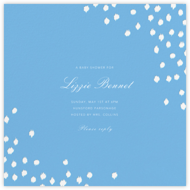 Ikat Dot (Square) - Light Blue - Oscar de la Renta - Baby shower invitations