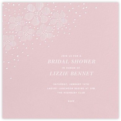 Blossoms on Tulle I Square - Pink - Oscar de la Renta - Bridal shower invitations