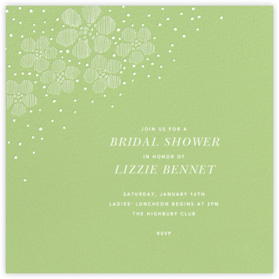 Blossoms on Tulle I Square - Green - Oscar de la Renta - Bridal shower invitations