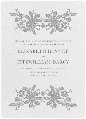 Leaf Lace I (Tall) - Gray - Oscar de la Renta - Wedding Announcements