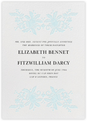 Leaf Lace I (Tall) - Blue - Oscar de la Renta - Wedding Announcements