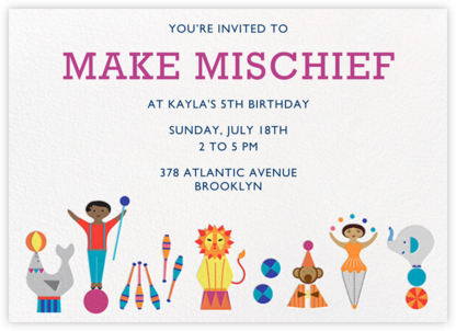 Circus Games - Tan/Medium - Jonathan Adler - Online Kids' Birthday Invitations