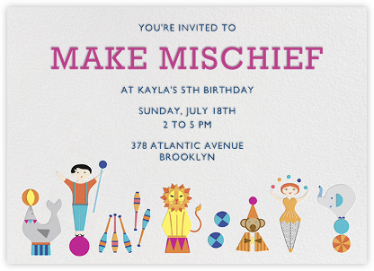 Circus Games - Jonathan Adler - Kids' Birthday Invitations