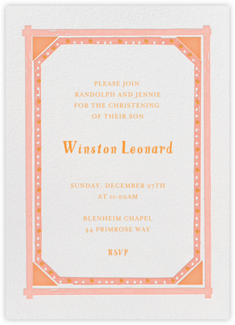 May in Lyon - Pinks - Mr. Boddington's Studio - Baptism invitations