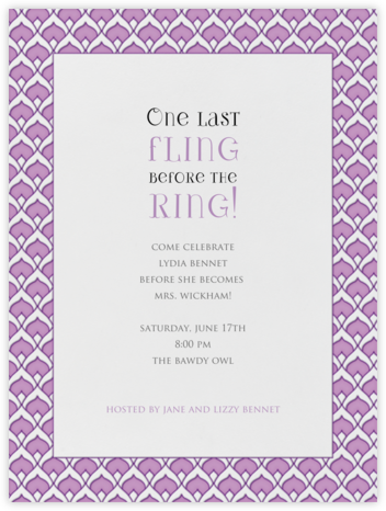 Veda - Lilac - Paperless Post - Bachelorette Party Invitations