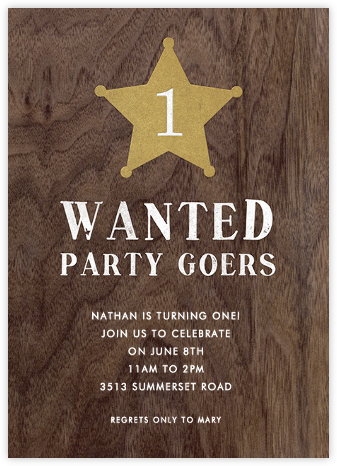 Wanted for a Party - Paper + Cup - First birthday and baby birthday invitations