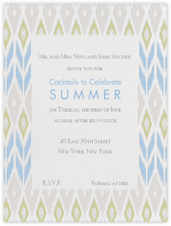 Ikat - Spring Rain With Sage and Oyster - Paperless Post - Summer entertaining invitations