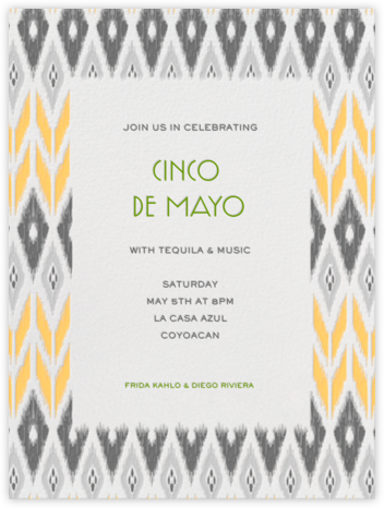 Ikat - Gray with Winter Gray and Citrus - Paperless Post - Cinco de Mayo Invites