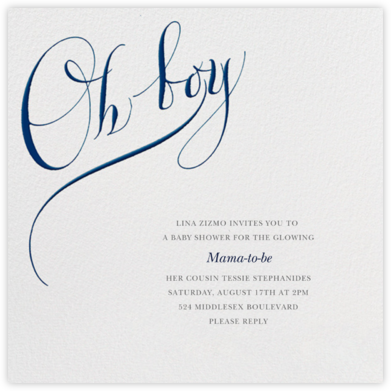 Oh Boy - Bernard Maisner - Online Baby Shower Invitations