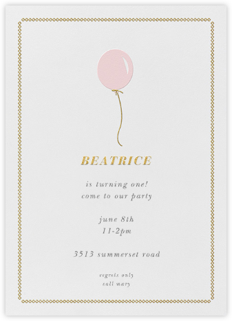Balloon Onesie - Pink - Paper + Cup - First birthday and baby birthday invitations