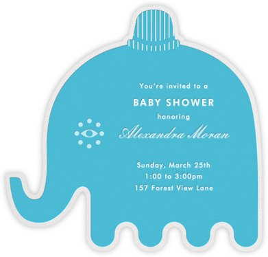 Circus Elephants - Blue - Jonathan Adler - Elephant Baby Shower Invitations