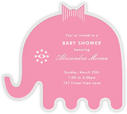 Circus Elephants - Pink - Jonathan Adler - Elephant Baby Shower Invitations