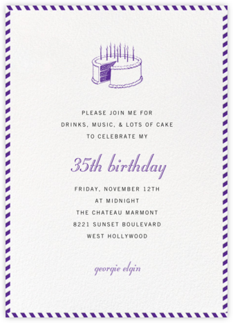 Stripe Border - Purple - Paperless Post - Adult Birthday Invitations