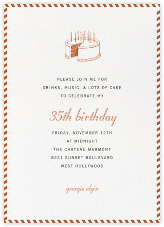 Stripe Border - Burnt Caramel - Paperless Post - Adult Birthday Invitations