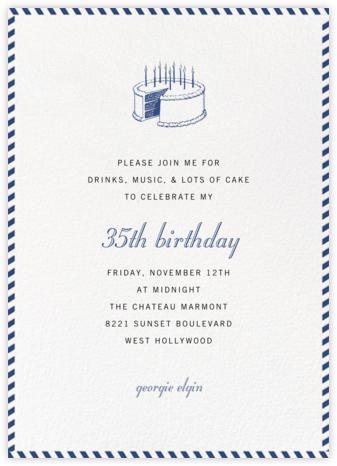 Stripe Border - Peacock - Paperless Post - Adult Birthday Invitations