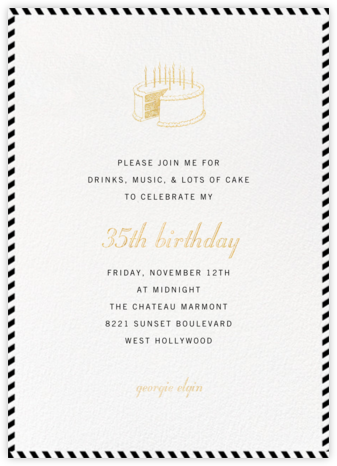 Stripe Border - Black - Paperless Post - Adult Birthday Invitations