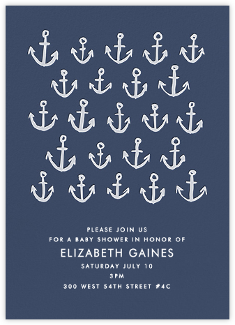 Maritime - Navy - Linda and Harriett - Baby Shower Invitations