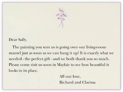 Edge Stain - Lilac Horizontal - Paperless Post - Wedding thank you notes