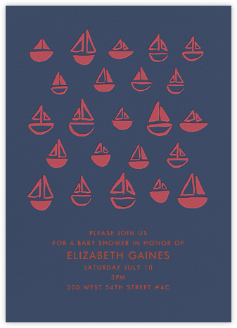 Floating Sails - Red Blue - Linda and Harriett - Baby Shower Invitations