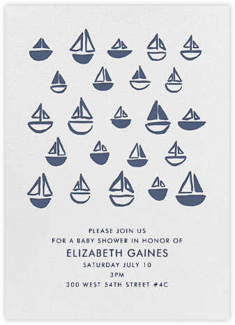 Floating Sails - Blue White - Linda and Harriett - Baby Shower Invitations