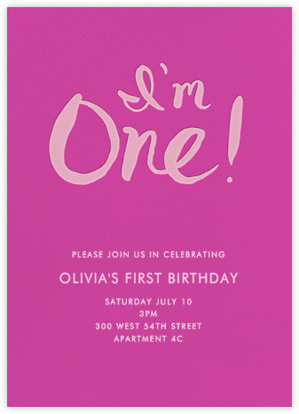 I'm One - Pink - Linda and Harriett - First Birthday Invitations