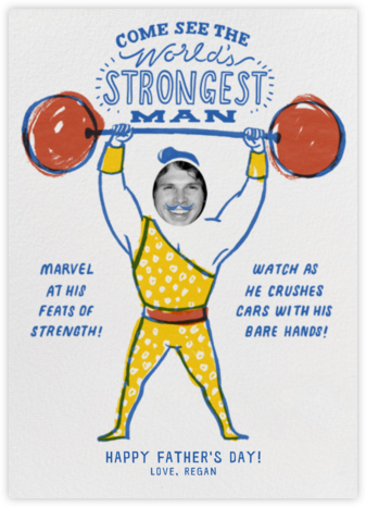 Strongman - Yellow and Blue - Paperless Post - Father's Day cards