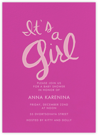Brilliant Girl - Fuschia - Linda and Harriett - Baby Shower Invitations