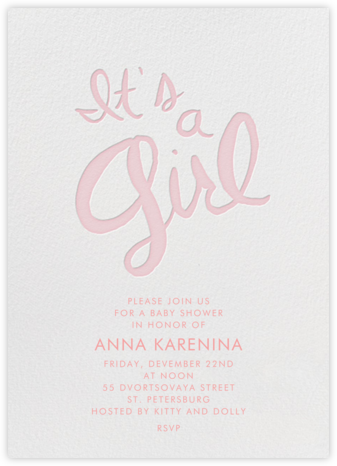 Brilliant Girl - Pink - Linda and Harriett - Baby Shower Invitations