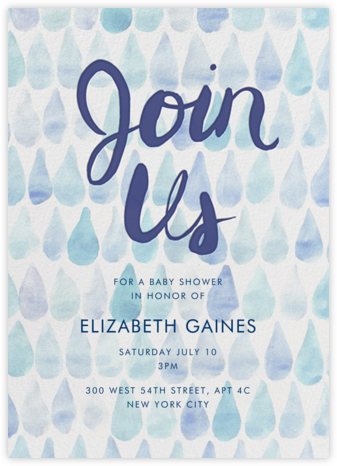 Rain Drops - Linda and Harriett - Baby Shower Invitations
