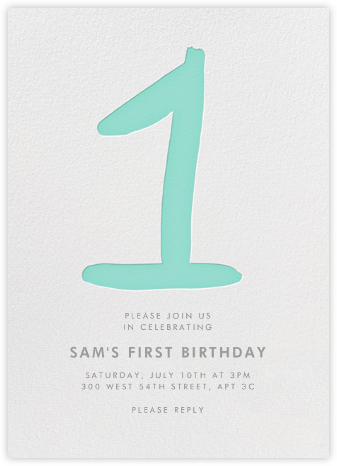 The Big One - Green - Linda and Harriett - First Birthday Invitations