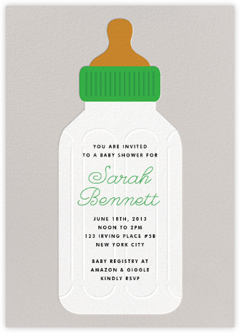Baby Bottle - Green - The Indigo Bunting - Baby Shower Invitations