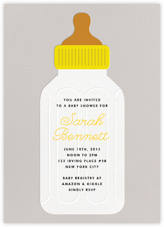 Baby Bottle - Yellow - The Indigo Bunting - Baby shower invitations