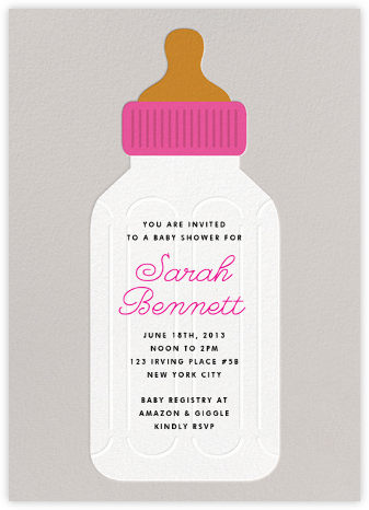 Baby Bottle - Pink - The Indigo Bunting - Baby Shower Invitations